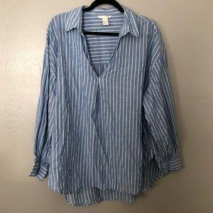 H&M | Blue & White Striped Shirt